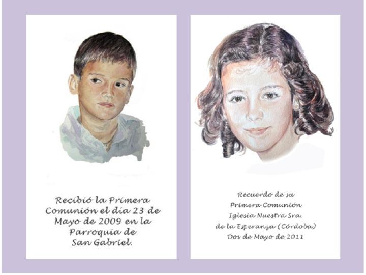 Recordatorios de Comunión pintados a mano