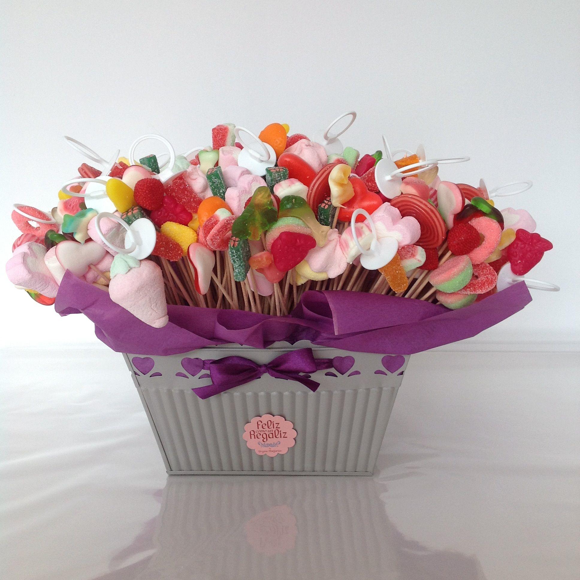 centros de caramelos y golosinas para mesas dulces Bautizo y Comunion