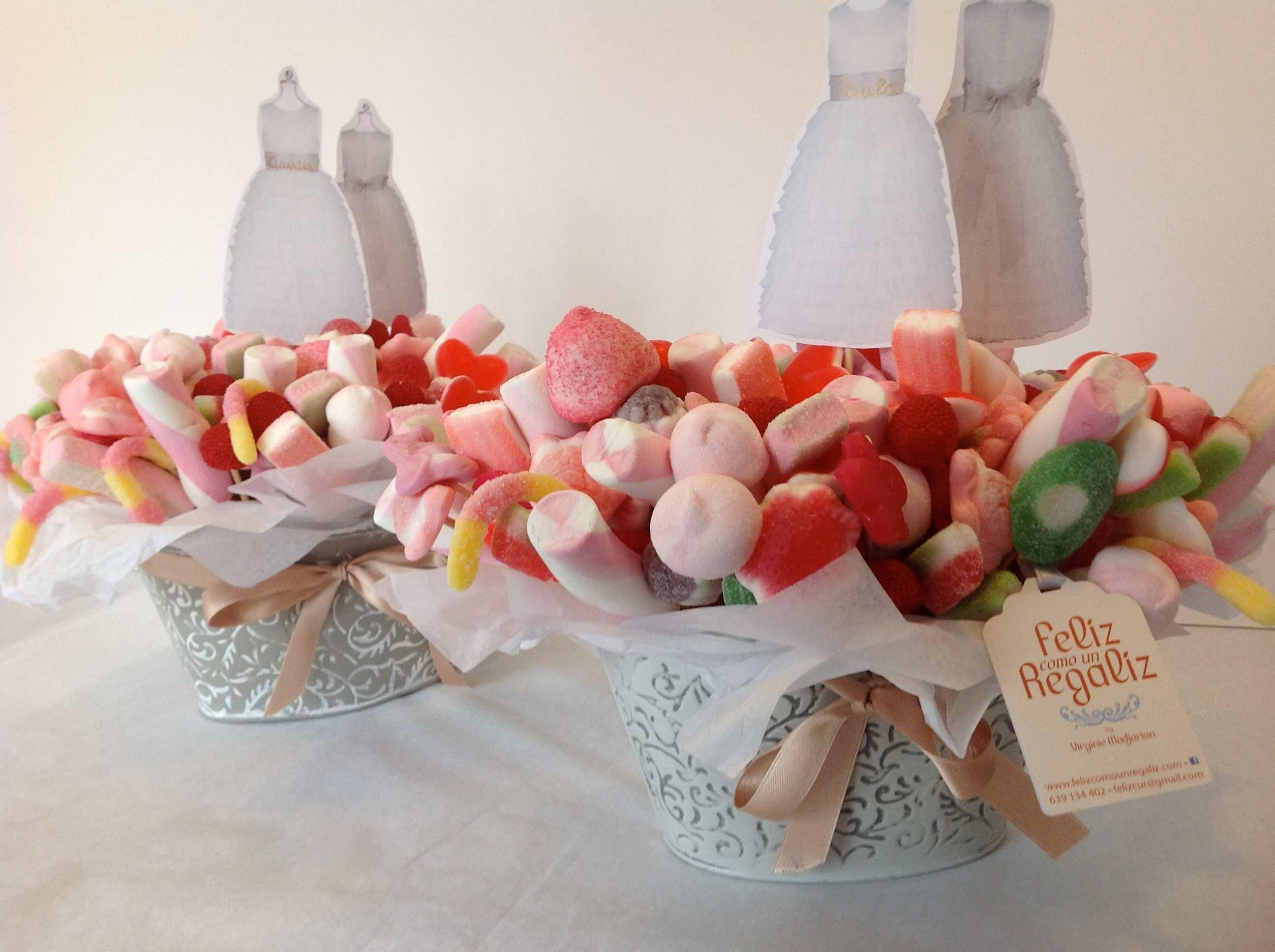 centros de chuches, caramelos y golosinas para mesas dulces Bautizo y Comunion