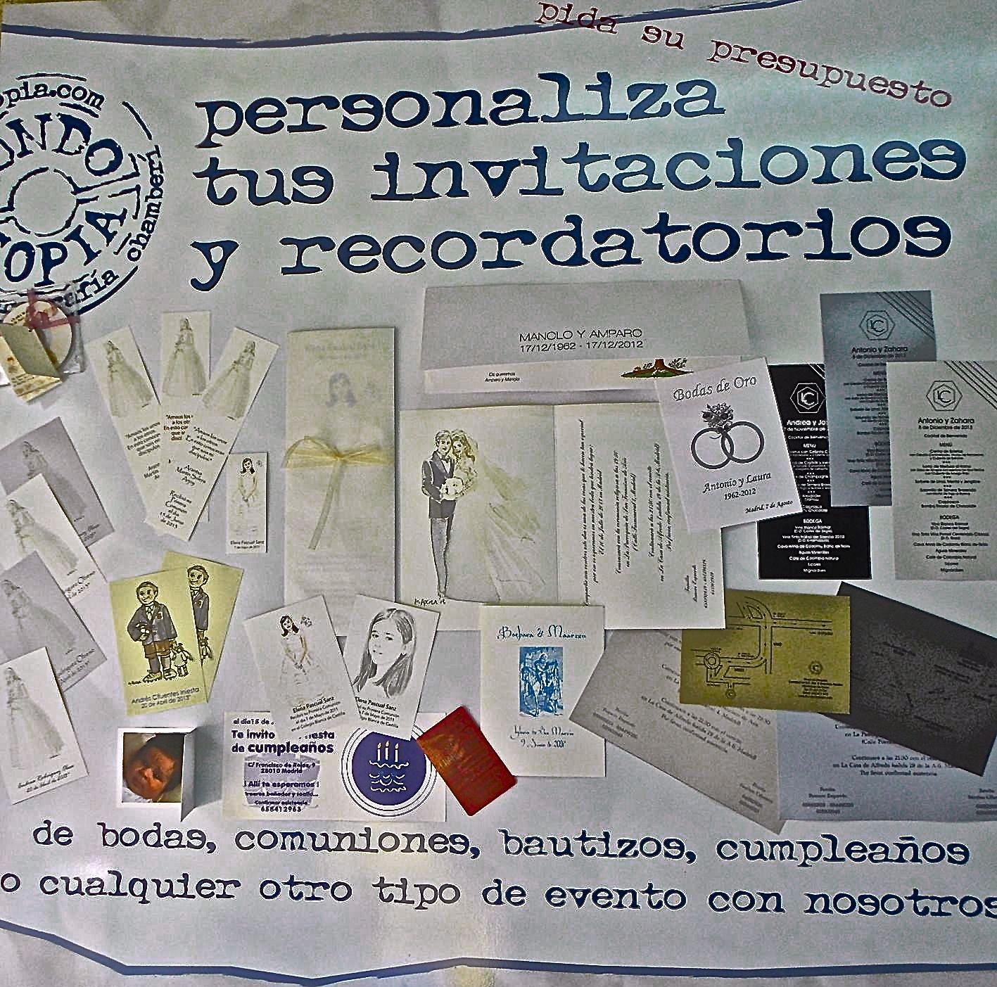 impresión y copias de tarjetas, invitaciones y recordatorios Bautizo y Comunión