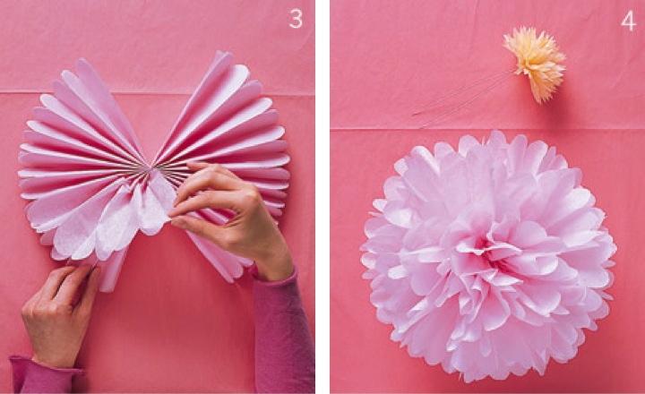DYS pompones de papel seda para decorar fiestas de Bautizo y Comunión