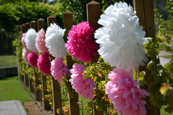 pompones papel seda en jardin