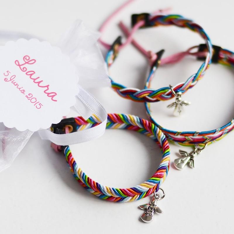 Set pulseras colores angelito Detalles Invitados Primera Comunión