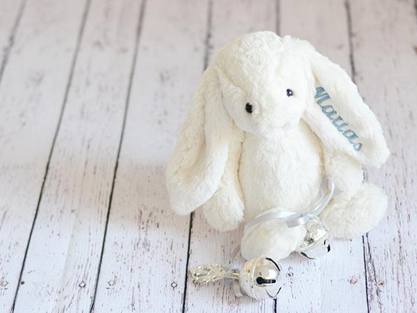 Conejo peluche personalizado Sonajero Bebés Bautizo