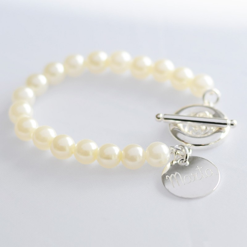 Pulsera personalizada Perlas Plata Joyas niñas Comuniones Limonae