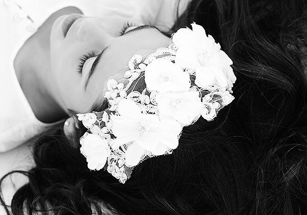 tocado encaje de flores comunion arras