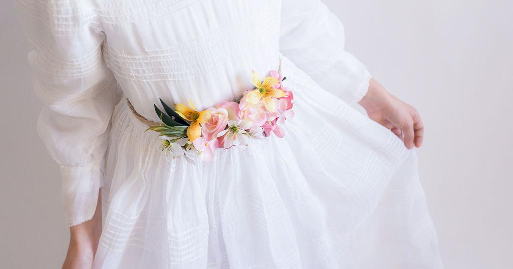 cinturón de flores vestido comunión