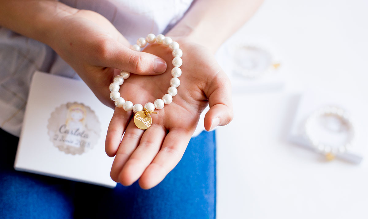 detalles comunion pulseras personalizadas perlas