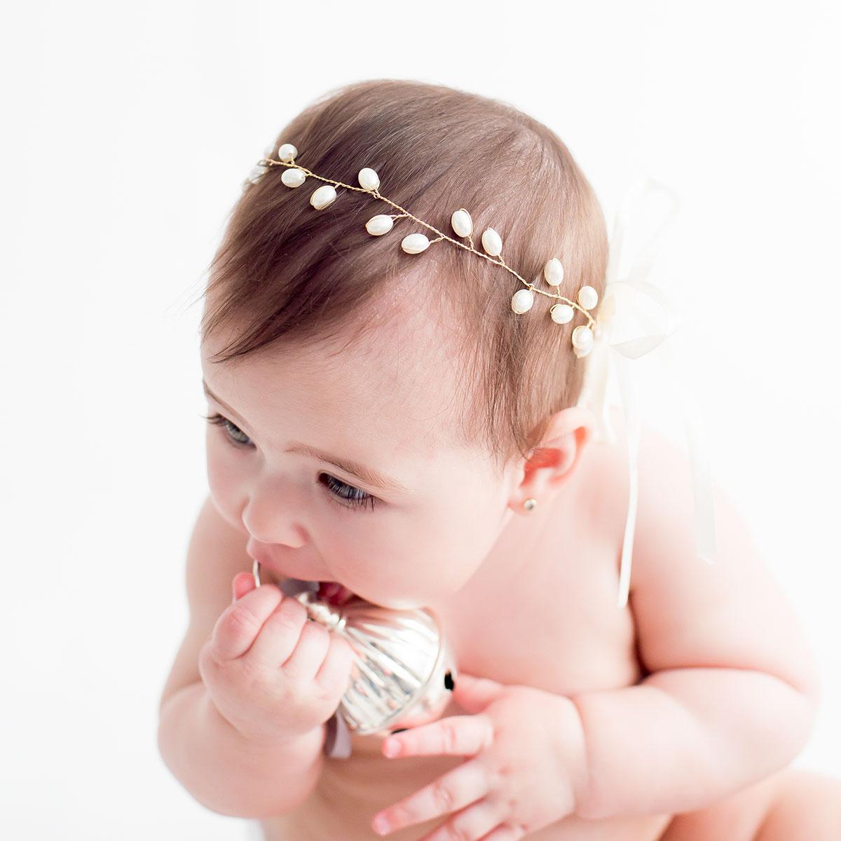 Diademas bebe con perlas
