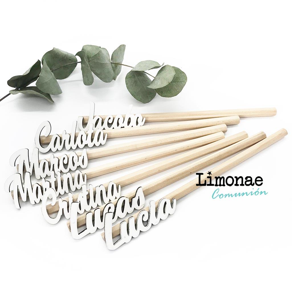 Lápices de madera con nombres