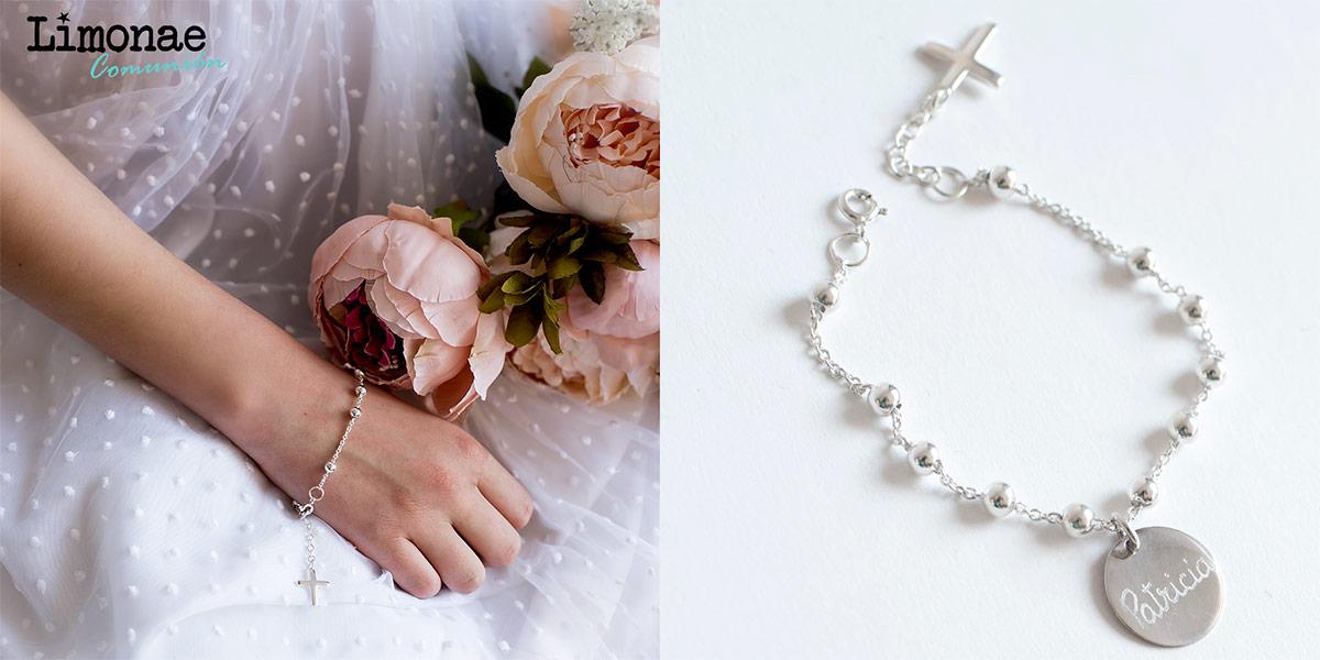 pulsera rosario de plata