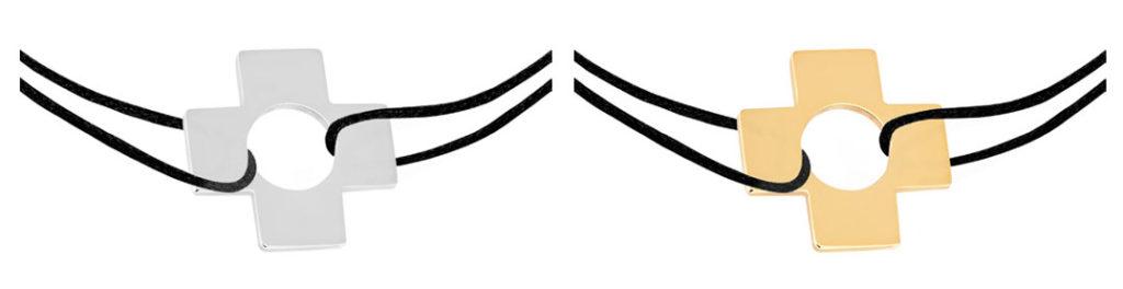 pulsera de cordón de la Cruz perforada de Dinh Van